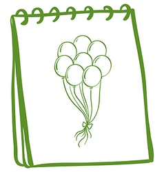 A green notebook with balloons at the cover page vector image vector image