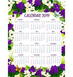 calendar 2019 floral crocus flowers design vector image vector image