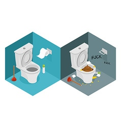 Clean and dirty toilet isometrics interior of vector image
