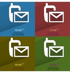 Color set Sms Flat modern web button with long vector image