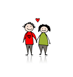 couple in love sketch for your design vector image