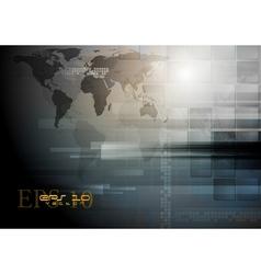 Dark technology world map design vector