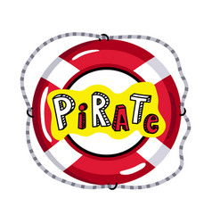 Lifebuoy from pirate sailing vessel icon vector