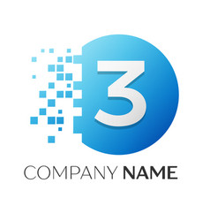 Number three logo symbol in colorful circle vector