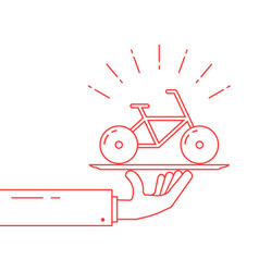 red thin line hand holding bicycle on dish vector image