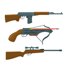 rifle submachine gun crossbow vector image vector image
