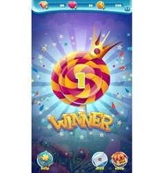 Sweet world mobile GUI game winner window vector image vector image