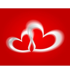 white hearts on the red backdrop vector image