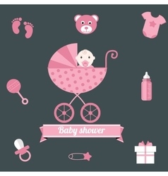 Baby shower icons set girl pink vector image vector image