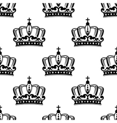 Black and white royal crown seamless pattern vector image vector image