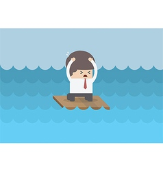 Businessman on a raft in the middle of the sea vector image