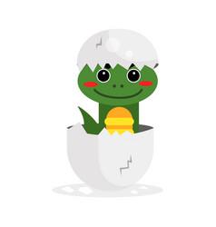 Cute newborn green dinosaur character funny vector