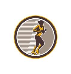Female Marathon Runner Side View Retro vector image