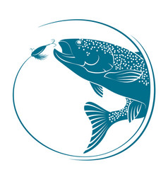 fish jumping for bait vector image