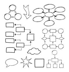 Flowcharts set Felt-tip pen and marker vector image