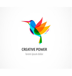 hummingbird abstract bird colorful icon vector image vector image