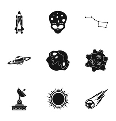 Outer space icons set simple style vector