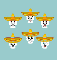 skeletons and sombrero set for day of the dead vector image vector image