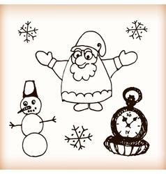 Snowman and Santa retro sketch doodles vector image vector image