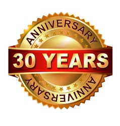 30 years anniversary golden label with ribbon vector image