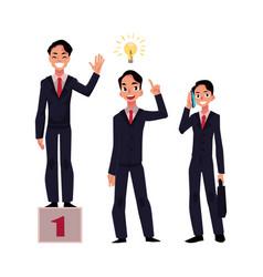 businessman achieves success has insight calls vector image vector image