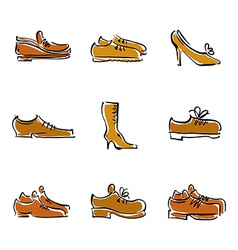 collection of shoes footwear vector image