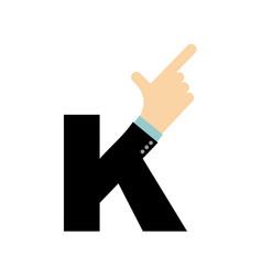 k letter hand forefinger lettering hand of vector image