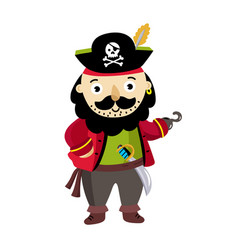 pirate man character in cocked hat icon vector image vector image