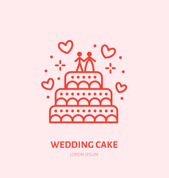 wedding cake sweets flat line icon vector image
