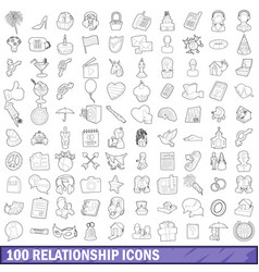 100 relationship icons set outline style vector image