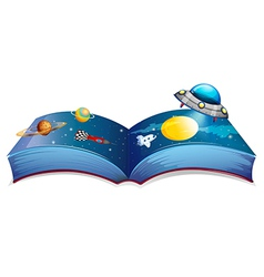 A book with an image of a spaceship and planets vector