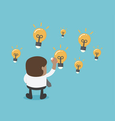 african businesses draw a lot of light bulbs vector image