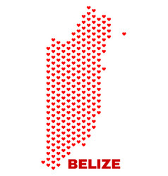 belize map - mosaic of love hearts vector image