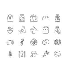bio organic food line icons signs set vector image