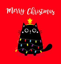 Black cat merry christmas fir tree shape garland vector