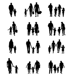 black silhouettes of families vector image