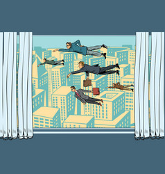businessmen fly past the window vector image