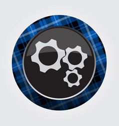 Button with blue black tartan - three cogwheel vector