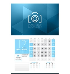 Calendar for 2016 Year December Design Clean vector