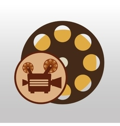 camera movie vintage film reel icon design vector image