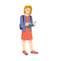 child girl with book in hands and backpack pupil vector image