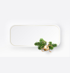 christmas rectangle frame branches white vector image