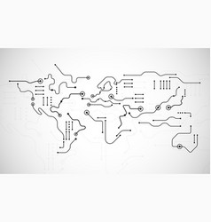 circuit board world map shape - abstract vector image