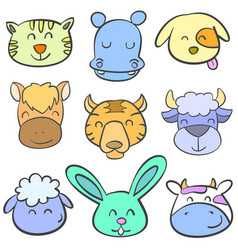 Collection of animal head doodle style vector