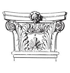 Corinthian pilaster capital an italian vector