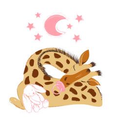 Cute baby giraffe sleeping with a plush and a vector