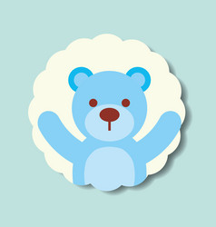 Cute blue toy bear dotted background vector