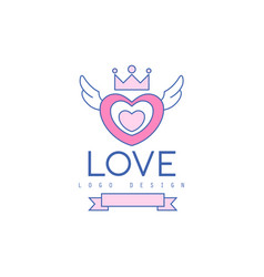 Cute line logo design heart with wings and crown vector