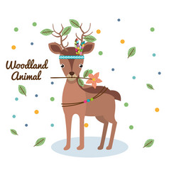 Deer woodland animal with feather crown vector