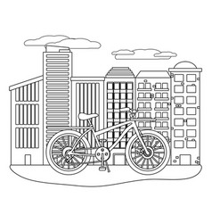 delivery bicycle in cityscape vector image